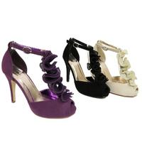 View Item LADIES BLACK PURPLE OR NATURAL PEEP-TOE RUFFLE PLATFORM SANDALS SHOES SIZES 3-8